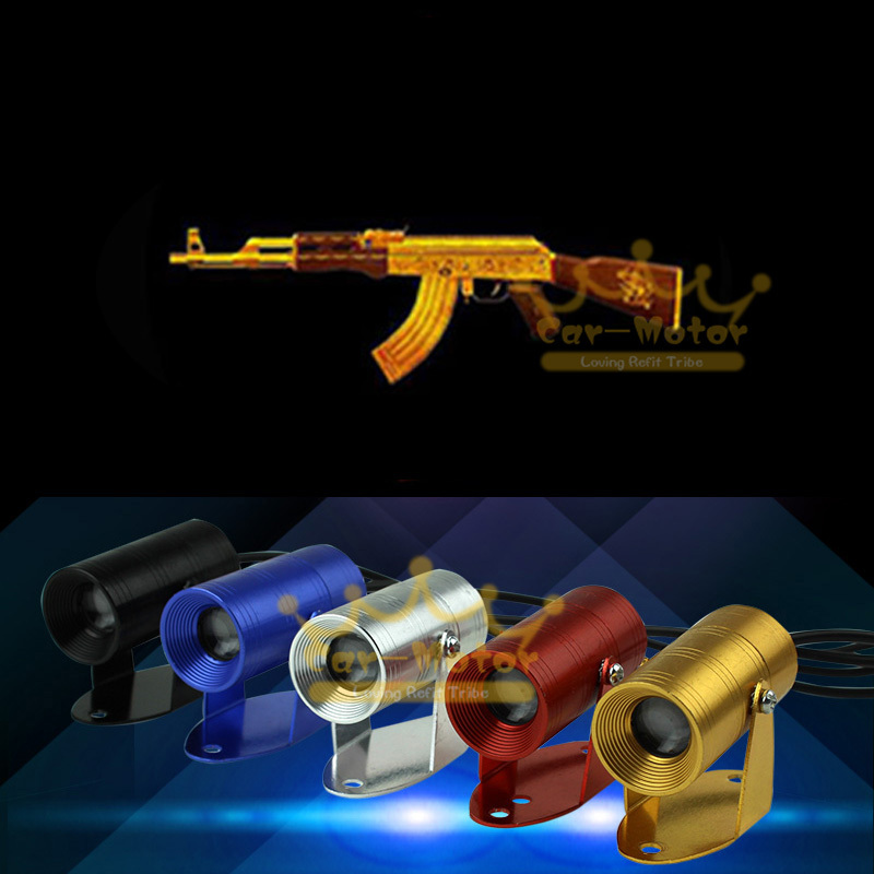 New Hot Sale Golden AK-47 Logo Motorcycle Shadow Spotlight Laser Projector LED Logo Light Universal (3010)(China (Mainland))