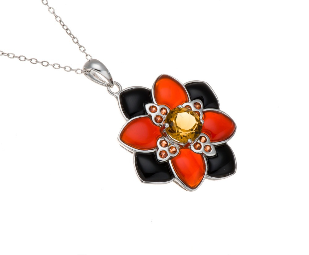 Citrine, Red &amp; Black Agate, Maderia Citrine Solid 925 Sterling Silver Pendant Necklace for Women &amp; Men Fine Jewelry Free Chain<br><br>Aliexpress