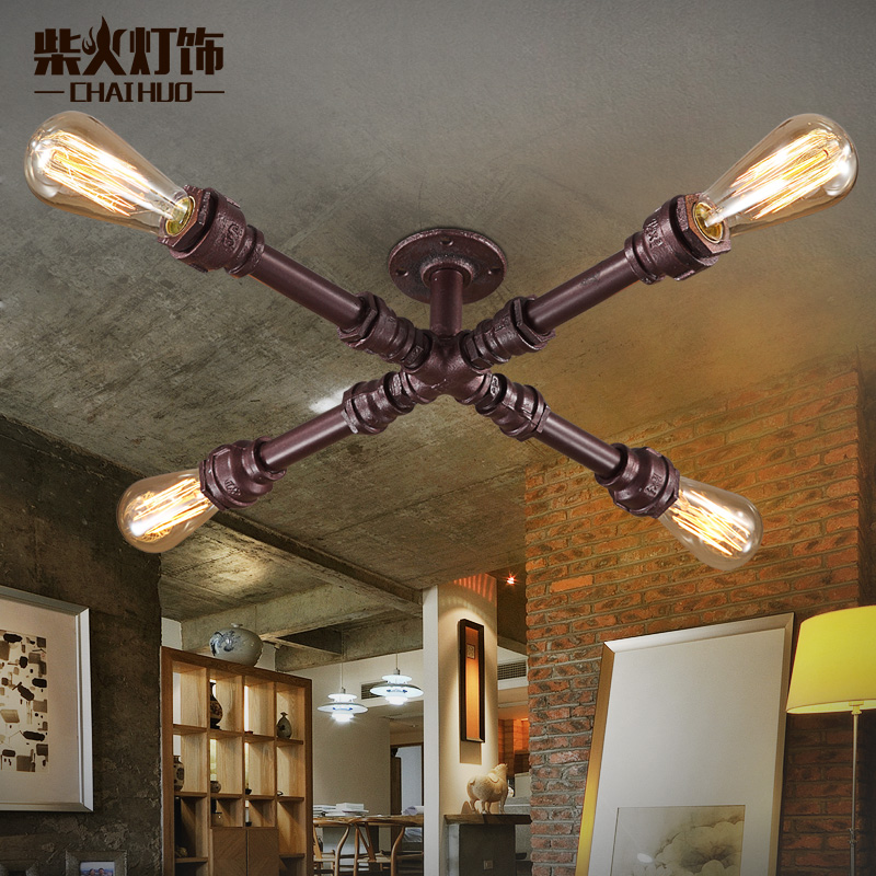 Fireweeds water pipe ceiling light wall lights vintage tieyi loft bookshelf water pipe ceiling light(China (Mainland))