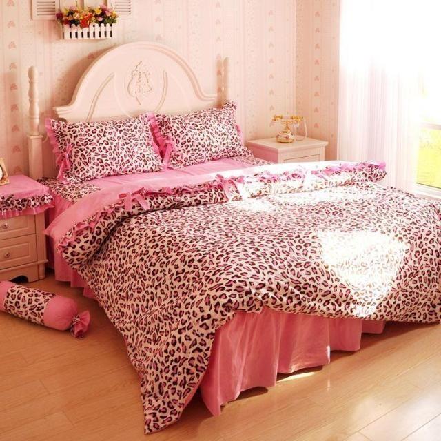 princess pink leopard kids king queen twin full girls single bed cotton sheet set 3pcs 4pcs bed. Black Bedroom Furniture Sets. Home Design Ideas
