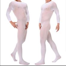 New 120D Men's clothing velvet zentai stockings conjoined tights thick long sleeved JJ set of opening / opening body stockings(China (Mainland))
