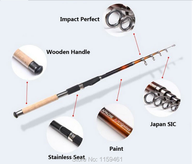 2015 Top Quality 2.1m 2.4m 2.7m 3.0m 3.6m Carbon Spinning Telescopic Fishing Rods Fishing Pole(China (Mainland))