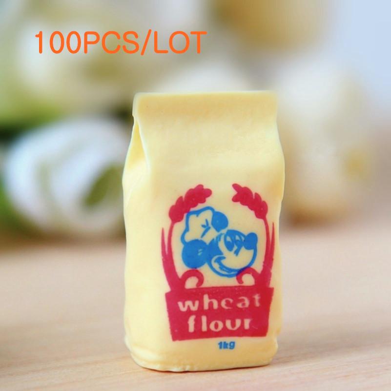 Wholesale 100PCS Kawaii Miniature Flour Pack Sacks Resin Flour Sacks Convex Circular Food Play Phone DIY(China (Mainland))