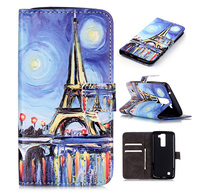 Nice Printed wallet stand leather case cover for LG K8 mobile phone bag with card holder for LG K8 Flip Leather case