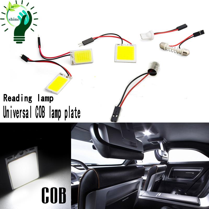 24 chip COB Car Interior LED panel 12V T10  Festoon ba9s 3 Adapter LED panel led car COB panel dome light reading lamp