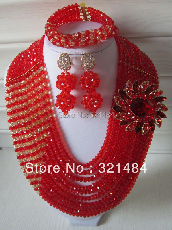 Nigerian Wedding African Beads Jewelry Set Red Crystal Jewelry Set Necklace Bracelet and Clip Earrings CRB-189<br><br>Aliexpress
