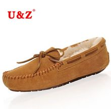 2017 Winter Moccasin Flat Real fur 7 colors Brown/Beige,100% Genuine calf Suede Leather Keep Warm Soft flat Shoes woolen lining(China (Mainland))