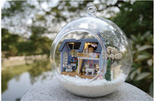 DIY Wooden Dolls house Miniature Kit Glass Cover Doll house Voice control Light turn on off