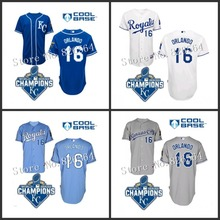 Kansas City Royals Bo Jackson Jersey w/2015 World Series Champions Patch Kansas City Royals 16 Bo Jackson Baseball Jersey S-5XL(China (Mainland))
