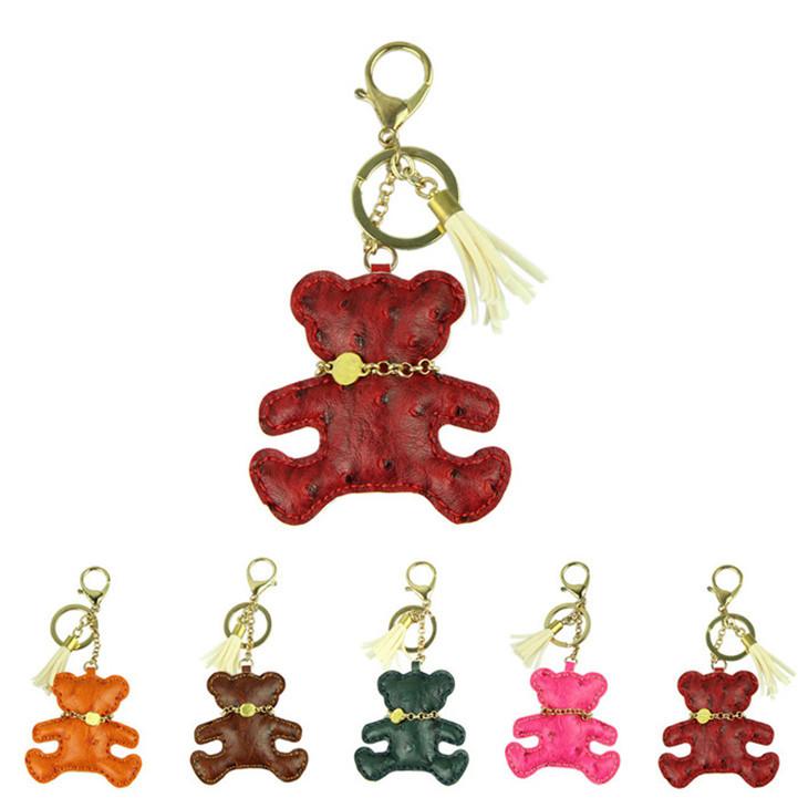 Delicate Orange Cute Novelty Car Keychain Jewelry Bag Accessories Charm Leather Bear Key Ring Holder Keyfob(China (Mainland))