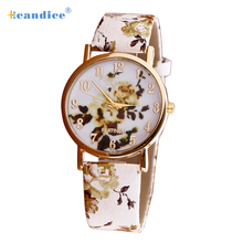 Buy Splendid Hot Drop Reloj Mujer Flower Patterns Leather Band Analog Quartz Wrist Watches for $1.05 in AliExpress store