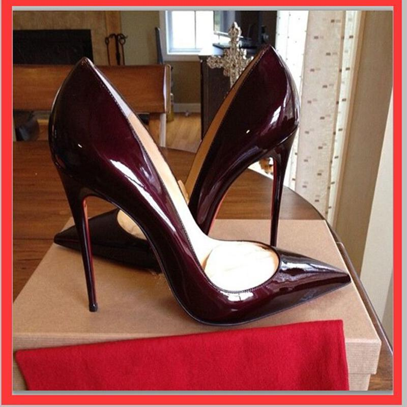 Red Bottom High Heels Brand Genuine Leather Women Pumps Pointed Toe High Heels Shoes Woman Plus Size 35-43<br><br>Aliexpress