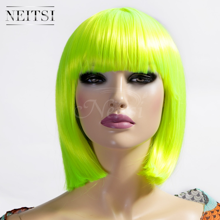 Neitsi Fashion Synthetic Wigs 1pc High Quality Straight Full Lace Short  Bog Wigs Yellow Color Cosplay Party Wigs Free Hairnet<br><br>Aliexpress