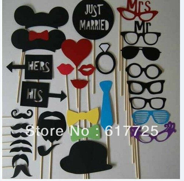 NEW Set of 31 Mustache On A Stick Wedding Photobooth Props Photo Booth Birthday Gifts Funny Party Masks Bridesmaid(China (Mainland))