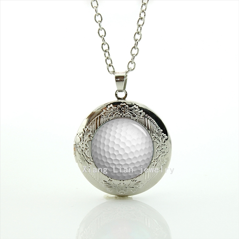 New Design High Quality Fashion Style golf ball locket necklace sports gift for children and kids T686(China (Mainland))