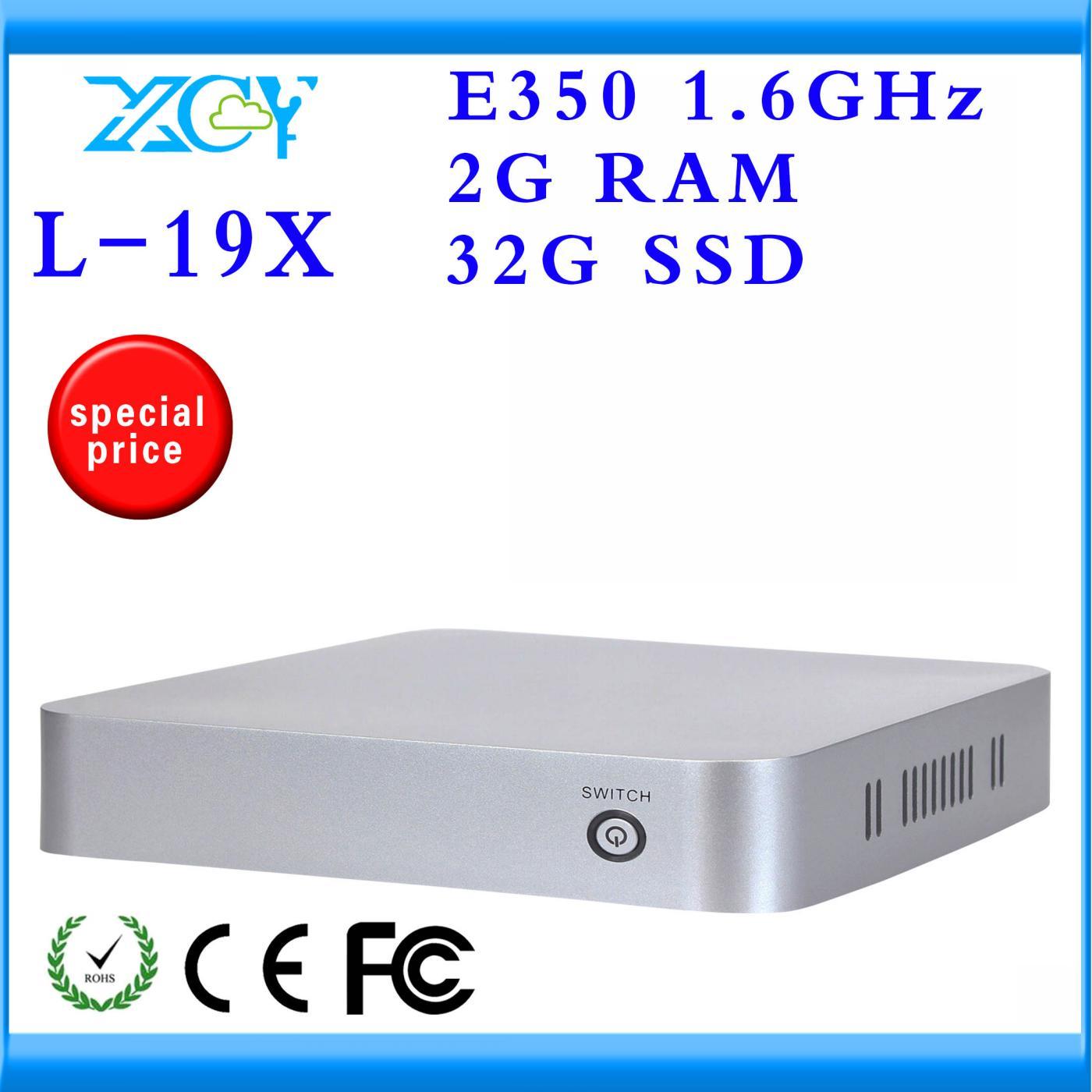 XCY Cheap Mini Desktop PC AMD E350 Dual core 1.6GHZ Computer Desktop PC 32GB SSD 2G RAM Support youtube video chat Net pc(China (Mainland))