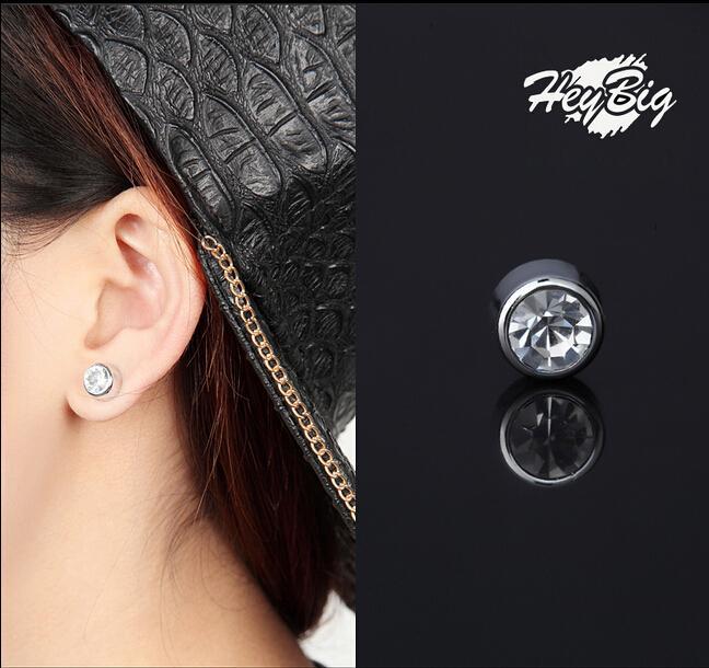 Wonderful Pair Non Piercing Clip On Magnetic Magnet Ear Stud Mens Womens Fake Earrings