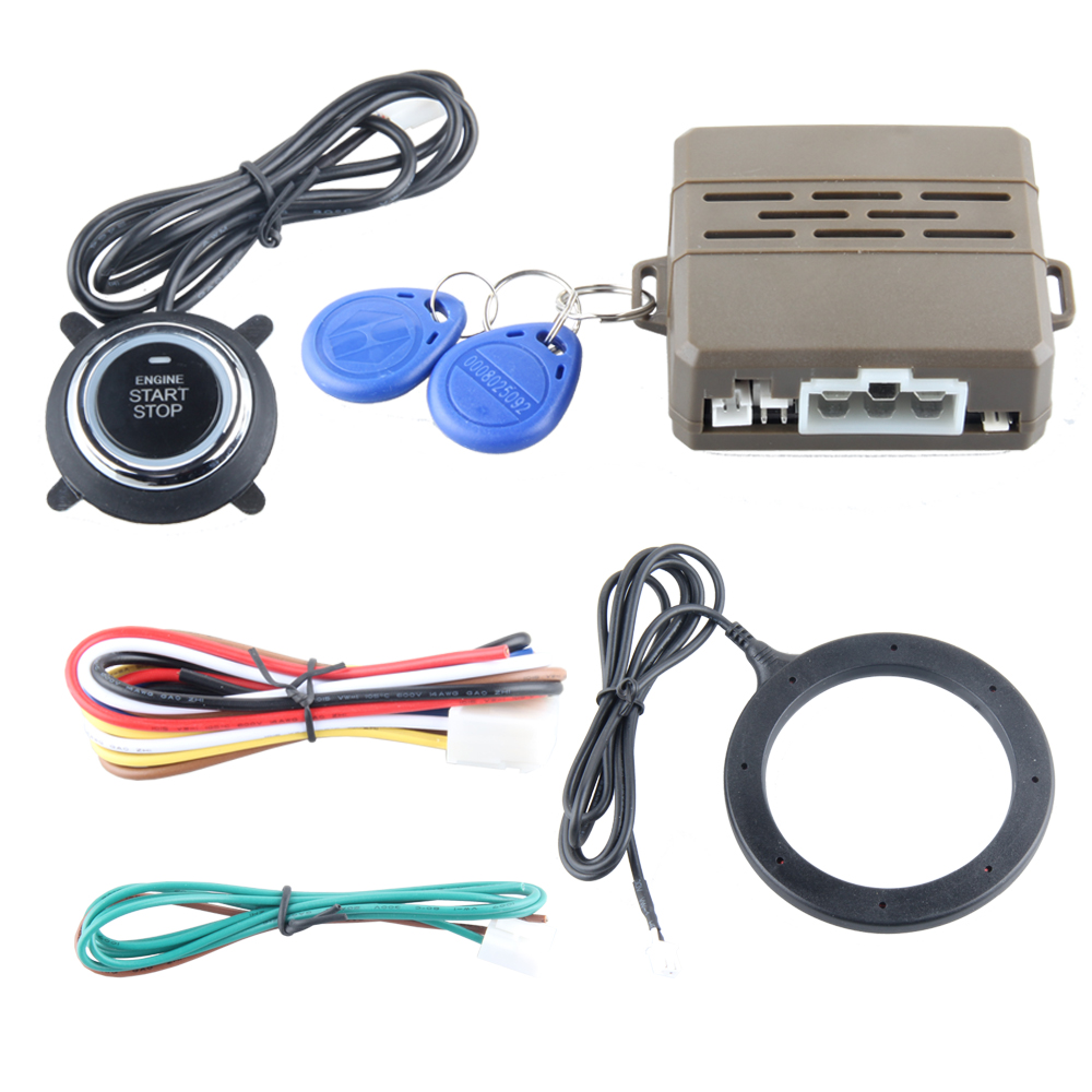 Good quality RFID car alarm system with smart key transponder immobilizer & push start button start stop the engine(China (Mainland))