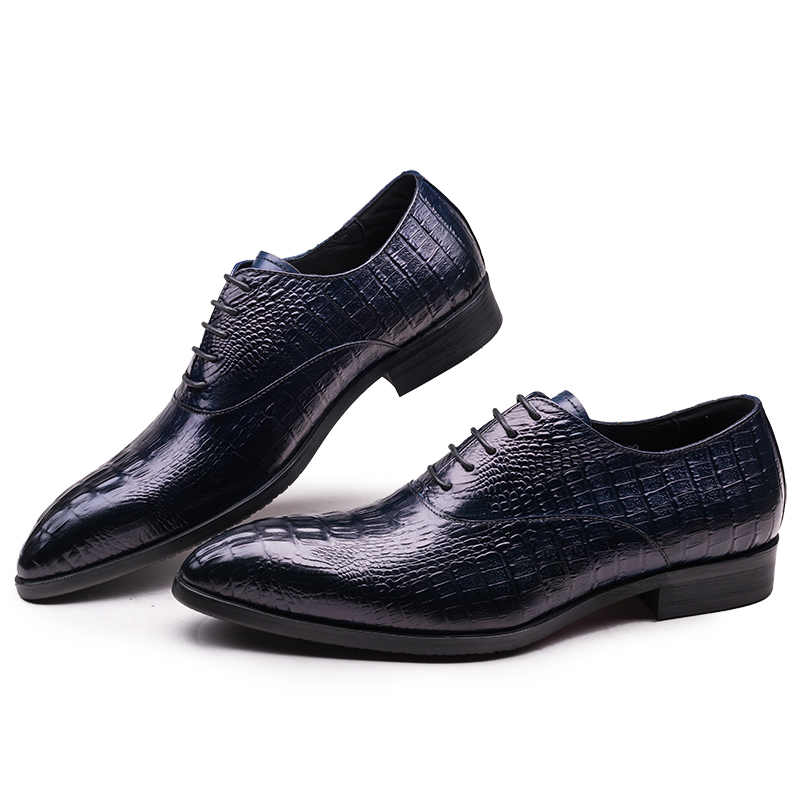 Crocodile Grain pointed toe black / dark blue mens dress shoes wedding shoes genuine leather oxfords shoes man busness shoes<br><br>Aliexpress