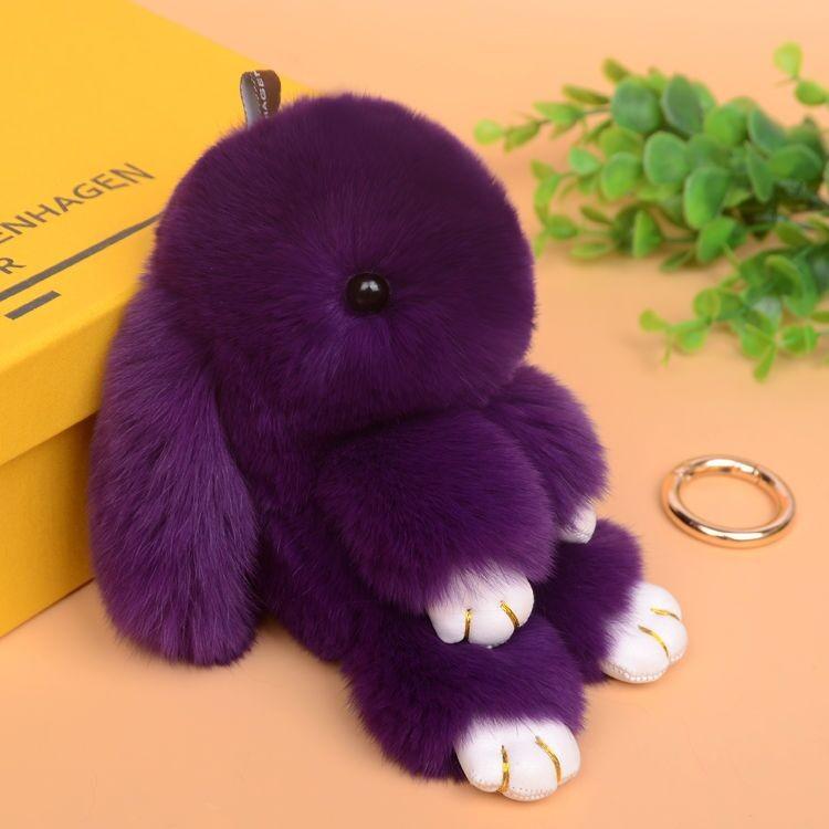 Halloween Valpeak 100%  Rabbit Fur Doll Handmade Bunny for Womens Bag Charms or Car Pendant  Pom Pom Keychain
