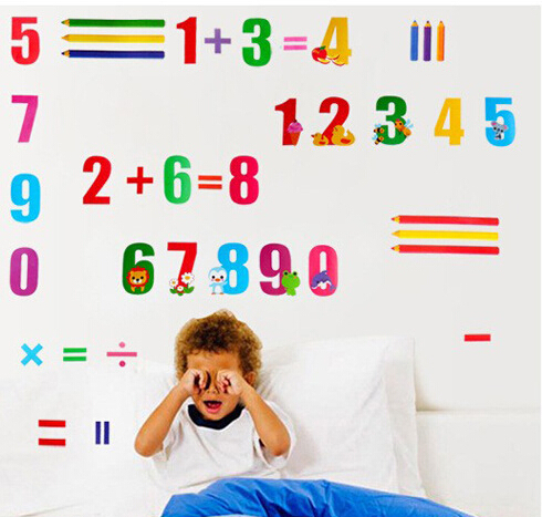 Cartoon Arabic numerals Mathematics Preschool education wall stickers home decor Living room bedroom adesivo parede wall decals(China (Mainland))