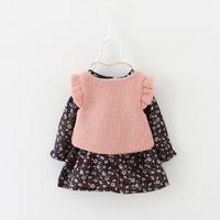 Autumn Baby Girls Kids Children Vintage Flora Infants Princess Long Sleeve Dress Vestido+Knitwear Tops Vest 2pcs Dress Set MT946
