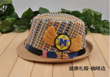Free shipping,Boys' fashion cap,children/Baby's spring jazz hat summer sun hat,Wings+belt pattern,Cap circum:52cm,Fits ages:2-7Y(China (Mainland))