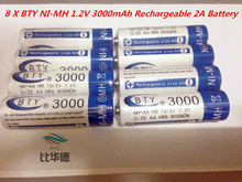 Высокая Quanlity аккумуляторные аккумулятор AA 3000 мАч 8 х BTY ni mh 1.2 В 3000 мАч аккумуляторная 2A батарея