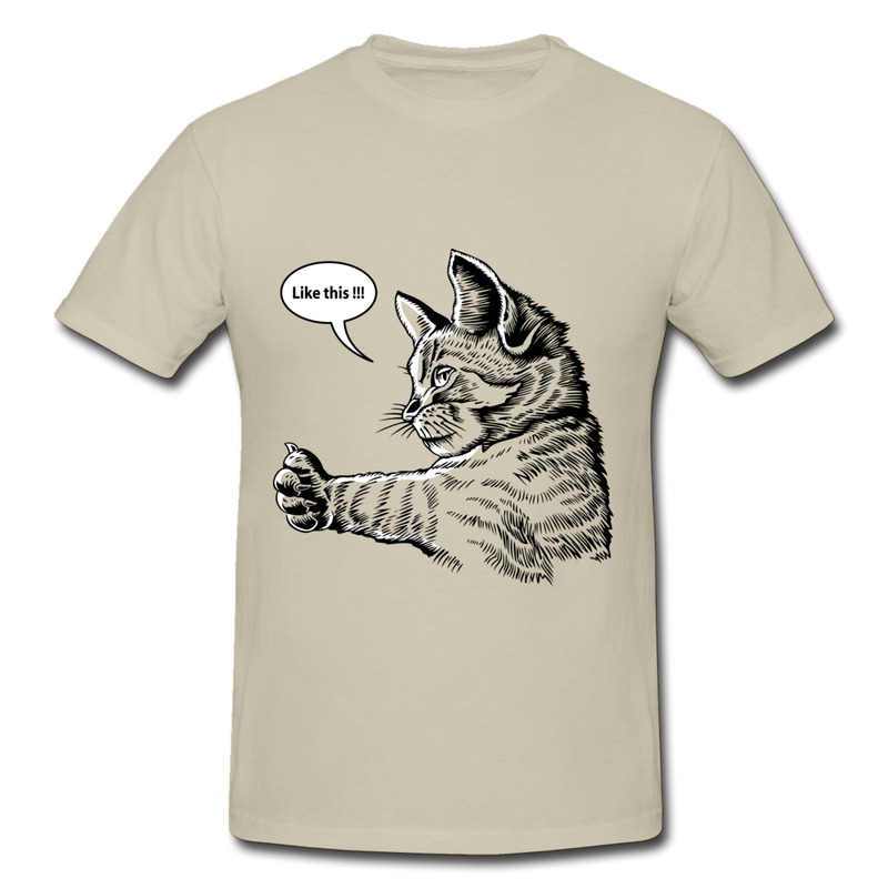 Men T Shirt 100% Cotton Artistic hand drawing comic style--thumb up cat Personalize Man TShirts Low Price(China (Mainland))