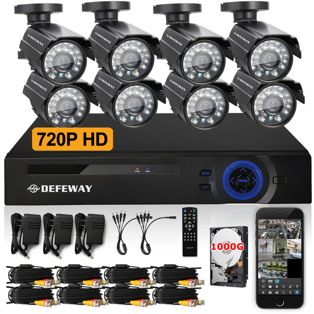 DEFEWAY  8ch CCTV System HD 720P DVR Kit 4PCS 900TVL Weatherproof Bullet Security Camera video surveillance system with1 TB HDD<br><br>Aliexpress