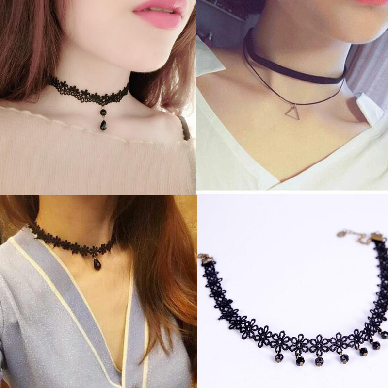 Free shipping Wholesale 2017 fashion trendy sexy hollow flower pendant water drop chokers necklace collar Jewellry women jewelry(China (Mainland))