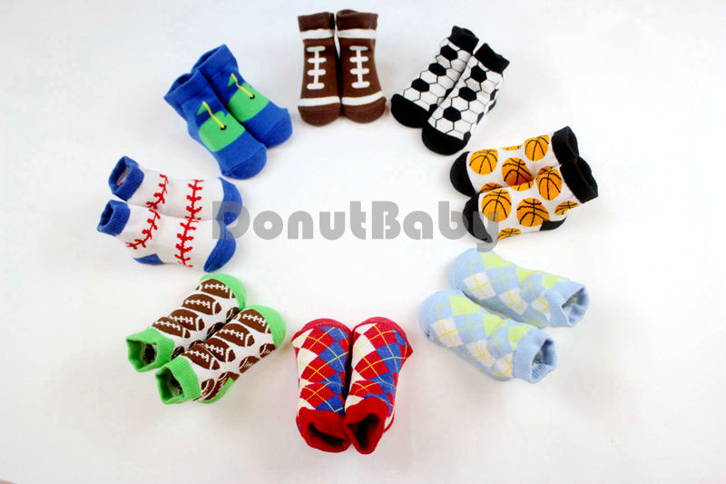 3 Pairs/ Lot Baby Infant Boy Socks Cotton Sport Ball Baby Shoe Socks 0-12m [DonutBaby] DBB002(China (Mainland))