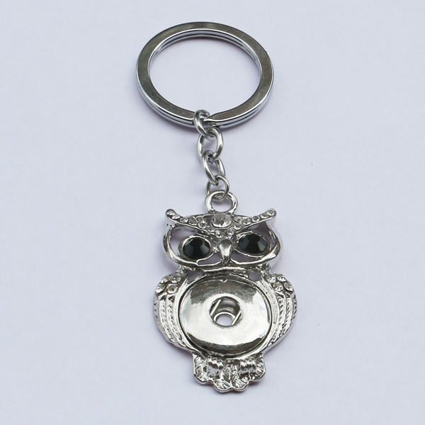 10pcs/lot New design fashion metal ginger snap button keychain owl keyring jewelry for men and women<br><br>Aliexpress
