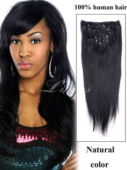 Straight clip in human hair extensions,natural black color 100% human hair 9pcs clip in hair extension 12-26inch instock