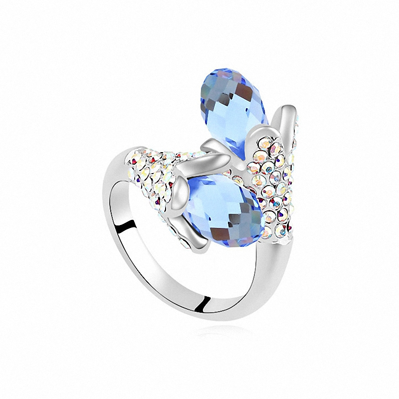3 Colors Real Austrian Crystals From SWAROVSKI Romantic 18K Gold Plated Flower Fashion Rings for women 106995Seablue(China (Mainland))