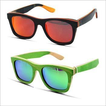 Vintage Laminated Wood Sunglasses Black Skateboard Sun Glasses Luneta Laminated Wodo Sunglasses