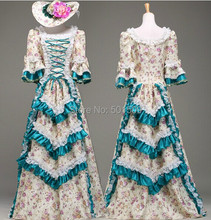 floral Medieval Renaissance lace rose Gown queen Dress costume Victorian Gothic/Marie Antoinette/civil war/Colonial Belle Ball