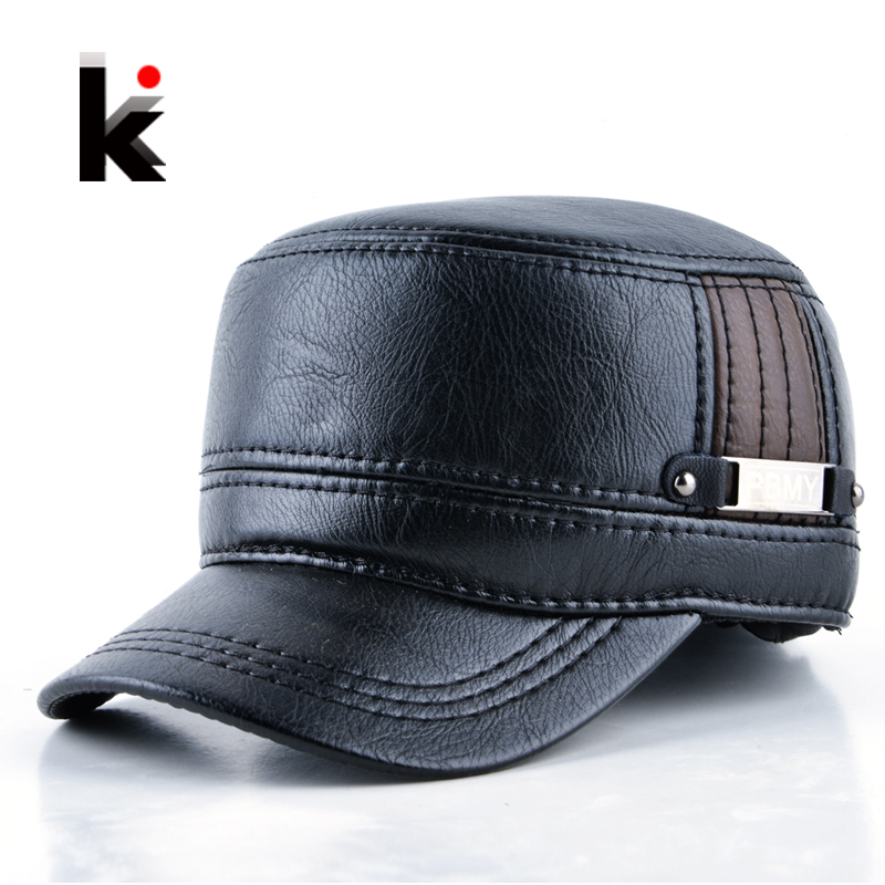 2016 Winter mens leather cap warm military style hat . b1d08ed712a1