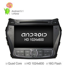 2015 Quad Core 1024*600 Car DVD Player For Hyundai IX45 Santa FE 2013 2014 with Android 5.1 GPS Navigation Radio Support OBD(China (Mainland))