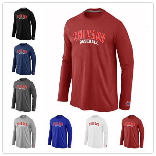 Hot Chicago Cubs Baseball t shirts Long Sleeve O-Neck Cheap Tees Shirts Fashion Cubs Cotton Practice T-shirt 14 Colors(China (Mainland))