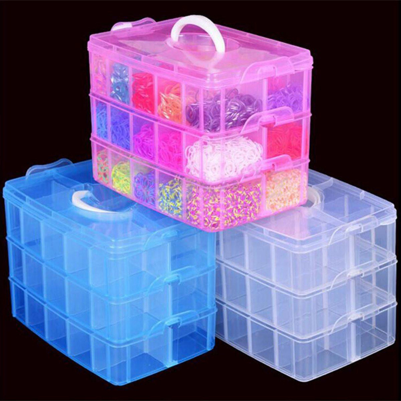3 Layers Clear Plastic Jewelry Beads Storage Box Earring Bangles Rings Container Organizer Case Craft Home Tool(China (Mainland))