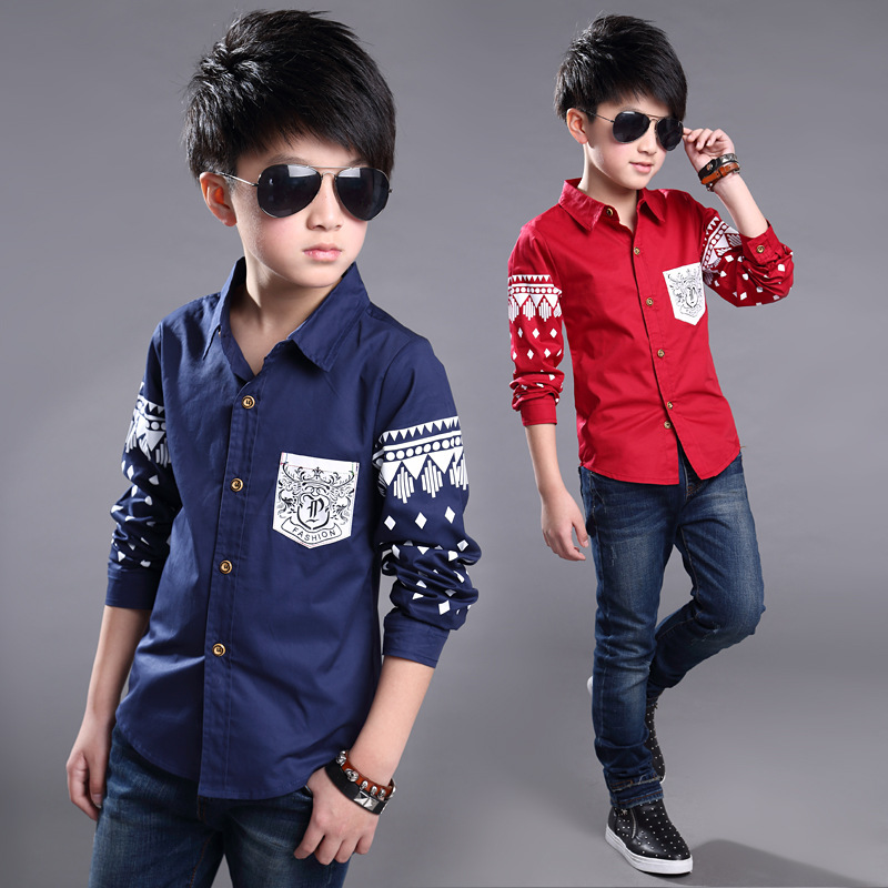 2017 5-14Y Spring Boys dress Shirt Hot Selling Soft Fashion Children Clothing Print Navy style Long sleeve Boy Blouses Formal(China (Mainland))