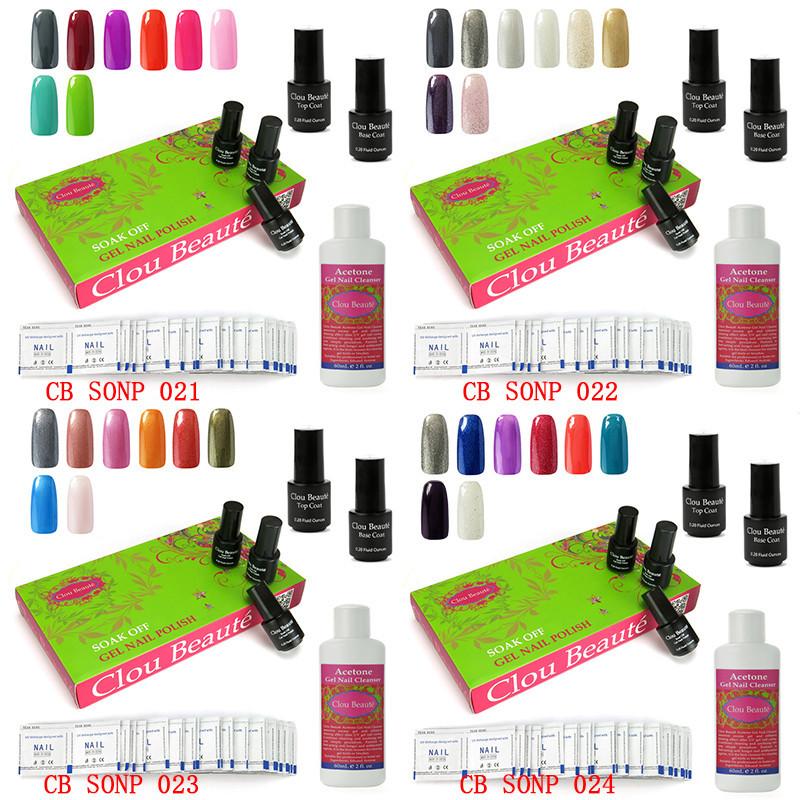 Clou Beaute Soak Off Gel Nail Polish Base Top Coat Acetone Gel Nail Cleanser Remover Wraps Urite Nail-094(SONP021-024)