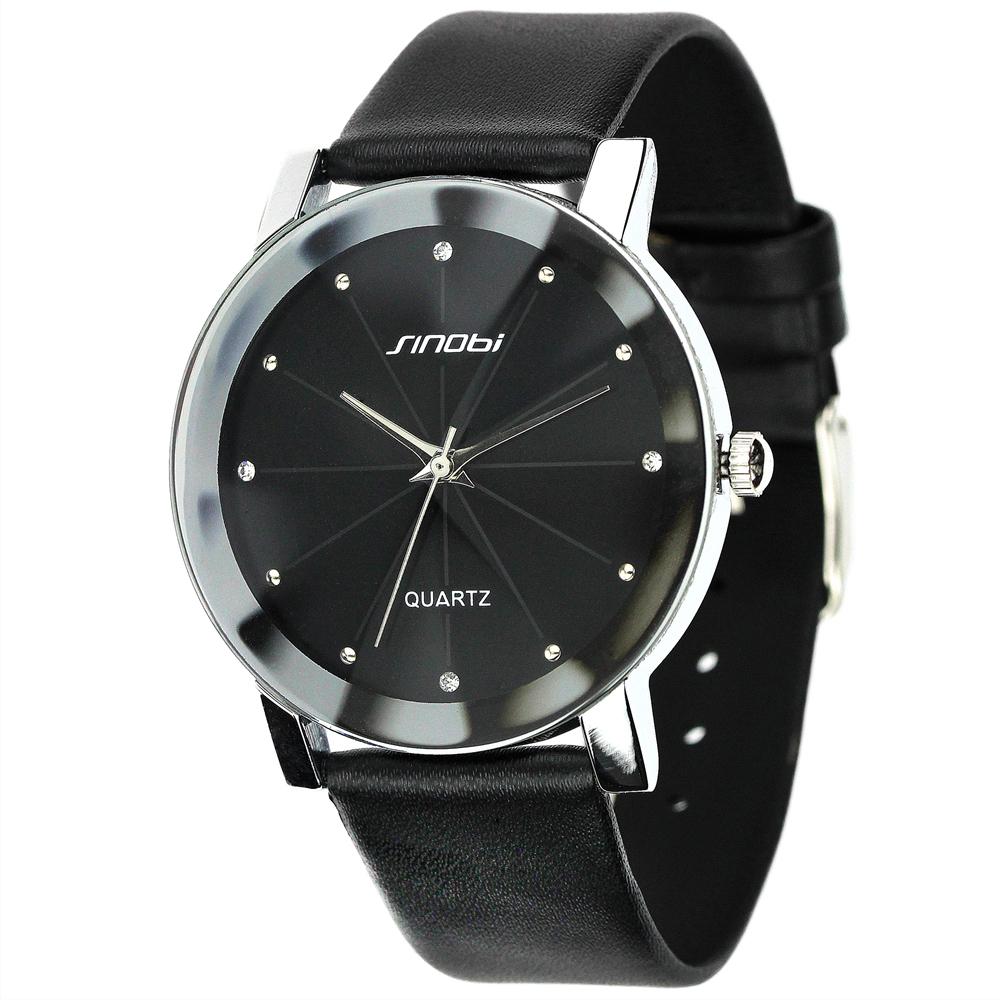 Trendy Classic Sinobi 981 men Round Dial Analog dress women watches Quartz Watch Faux Leather Strap ( Black) unisex - Focal Price store