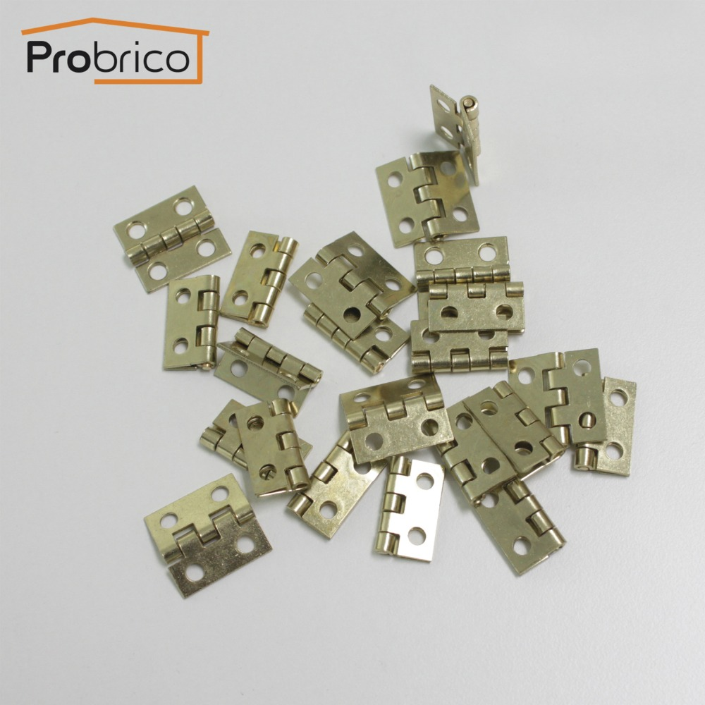 Гаджет  Probrico CH34BB 10 Pcs Gold Small Furniture Cabinet Hinges 18mm*19mm Copper Mini Drawer Hinges None Мебель