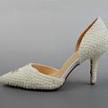 New Beautiful Luxurious Elegant Pearl Crystal Rhinestone Pumps Honeymoon 8CM Helel Wedding Bridal shoes