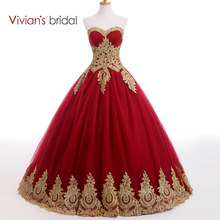 Vivian's Bridal Sweetheart Burgundy Bll Gown Evening Dress Long Prom Dresses Golden Lace Appliques Muslim Evening Gown(China (Mainland))