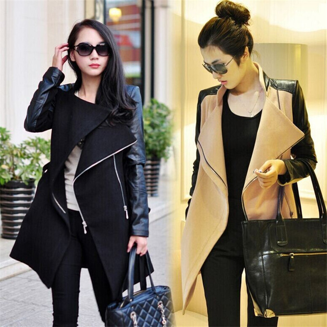 New Fashion Patchwork Womens Long Wool PU Leather Sleeve Jacket Coat Windbreaker Autumn And Winter Women Coat 3 Color