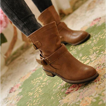 FREE SHIPPING women Boots female spring and autumn fashion artificial martin boots flat vintage buckle motorcycle boots 218