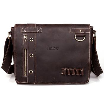 Cattle leather vintage man bag mens casual genuine leather handmade messenger bag crazy horse leather shoulder bag 1006